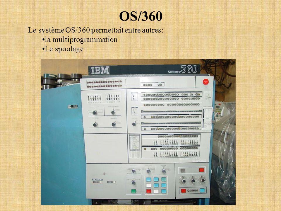 OS/360 Le système OS/360 permettait entre autres: la multiprogrammation Le spoolage