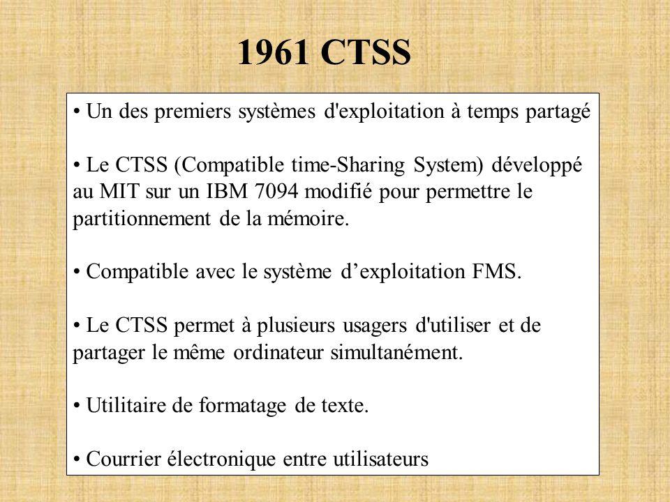 1961 CTSS Un des premiers systèmes d'exploitation à temps partagé Le CTSS (Compatible time-Sharing System) développé au MIT sur un IBM 7094 modifié po