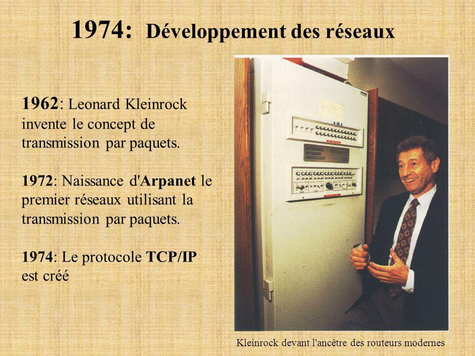 1974: Développement des réseaux 1962: Leonard Kleinrock invente le concept de transmission par paquets. 1972: Naissance d'Arpanet le premier réseaux u
