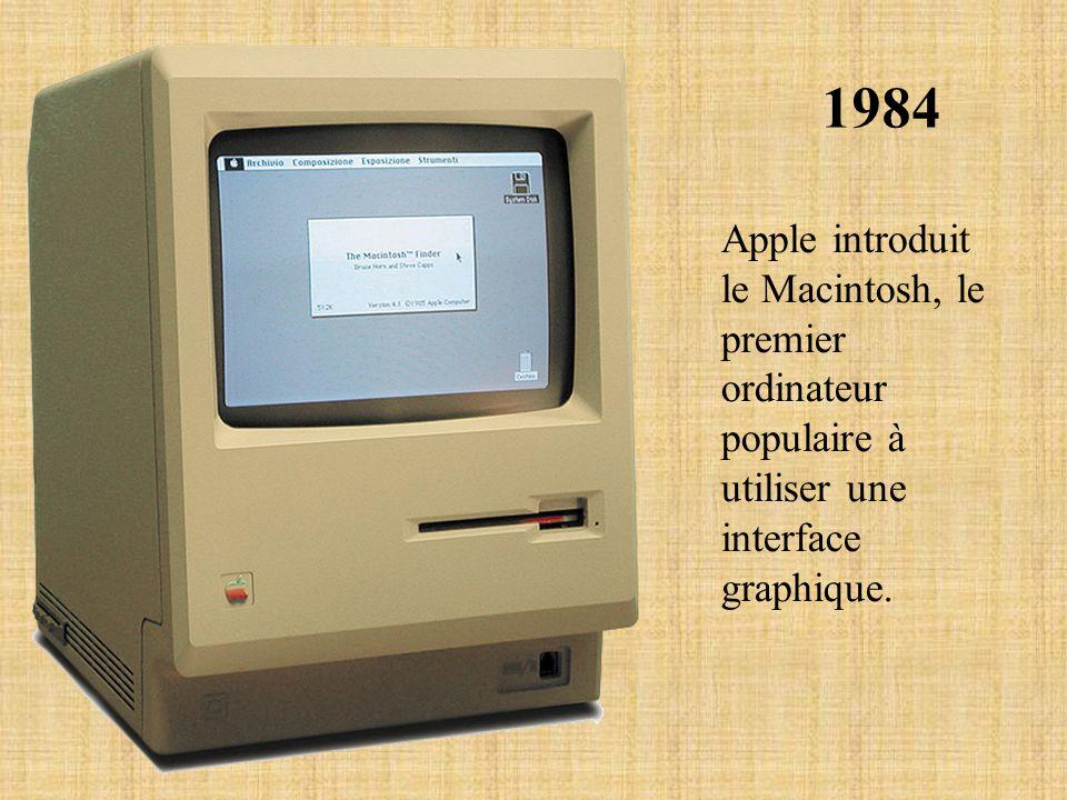 1984 Apple introduit le Macintosh, le premier ordinateur populaire à utiliser une interface graphique.