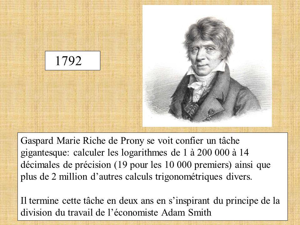 1792 Gaspard Marie Riche de Prony se voit confier un tâche gigantesque: calculer les logarithmes de 1 à 200 000 à 14 décimales de précision (19 pour l