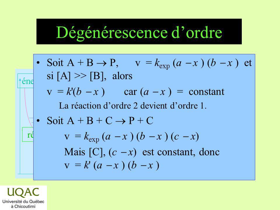 réactifs produits énergie temps Dégénérescence dordre Soit A + B P, v = k exp (a x ) (b x ) et si [A] >> [B], alors v = k'(b x ) car (a x ) = constant