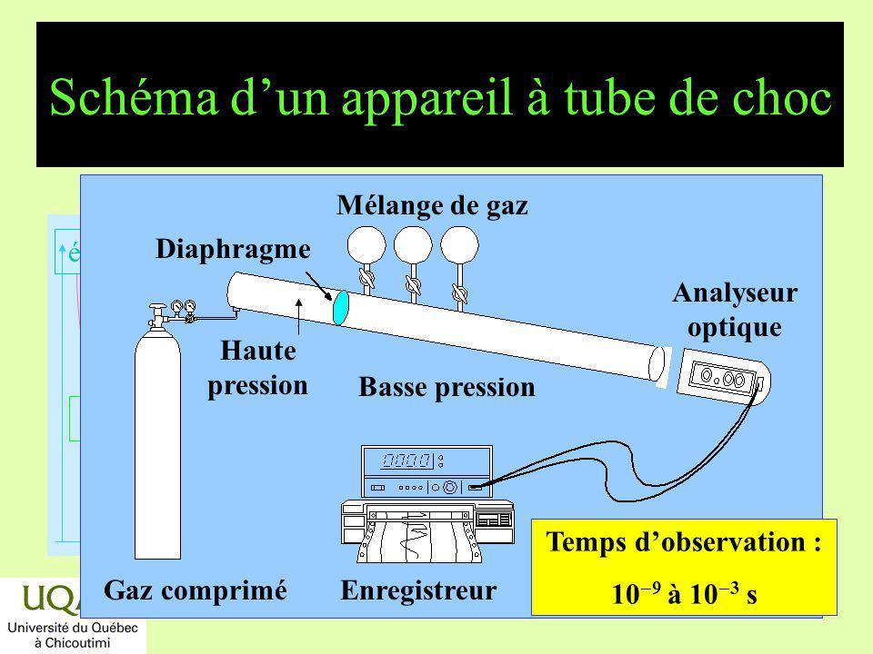réactifs produits énergie temps Basse pression Mélange de gaz Analyseur optique Gaz compriméEnregistreur Diaphragme Haute pression Schéma dun appareil