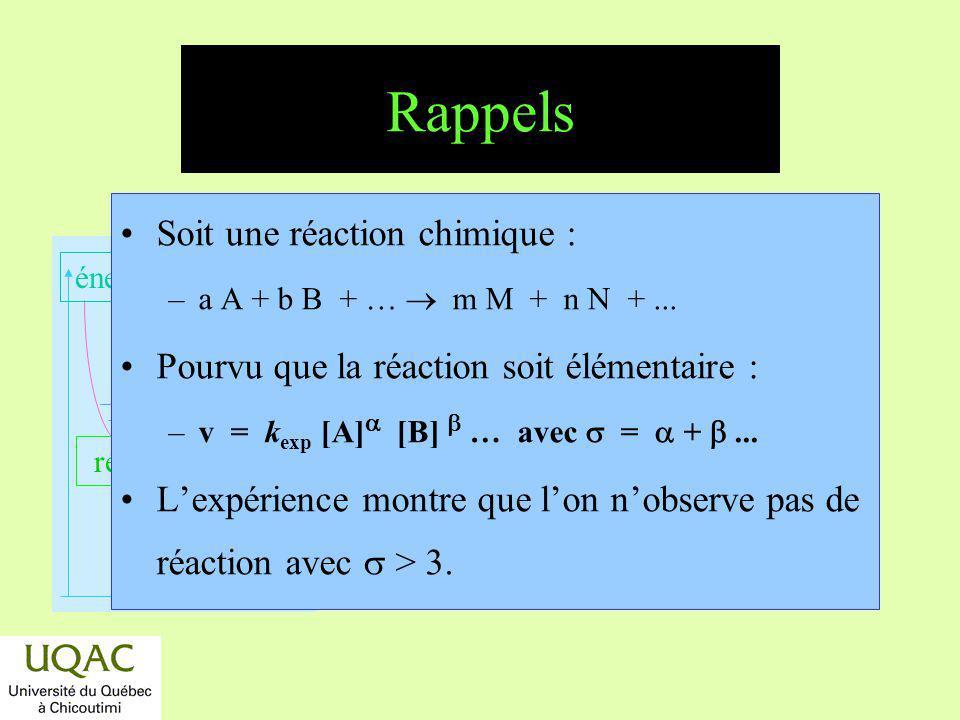 réactifs produits énergie temps Dégénérescence dordre Soit A + B P, v = k exp (a x ) (b x ) et si [A] >> [B], alors v = k (b x ) car (a x ) = constant La réaction dordre 2 devient dordre 1.