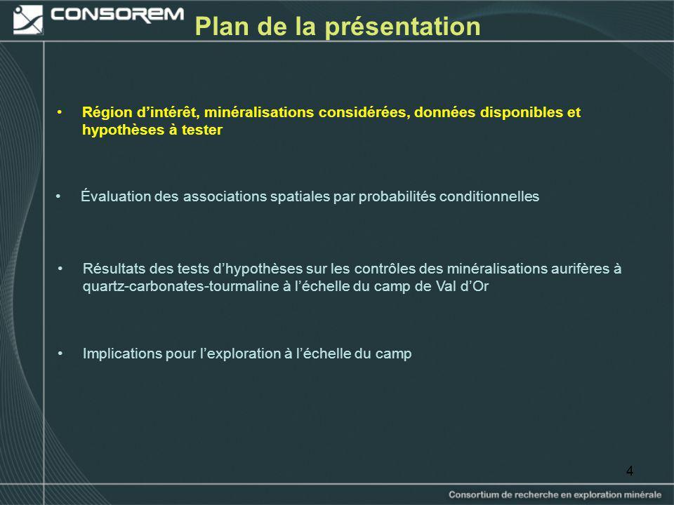 44 Plan de la présentation Région dintérêt, minéralisations considérées, données disponibles et hypothèses à tester Résultats des tests dhypothèses su