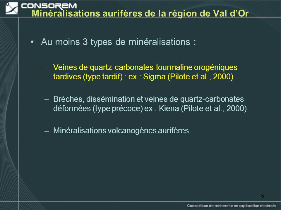 5 Minéralisations aurifères de la région de Val dOr Au moins 3 types de minéralisations : –Veines de quartz-carbonates-tourmaline orogéniques tardives