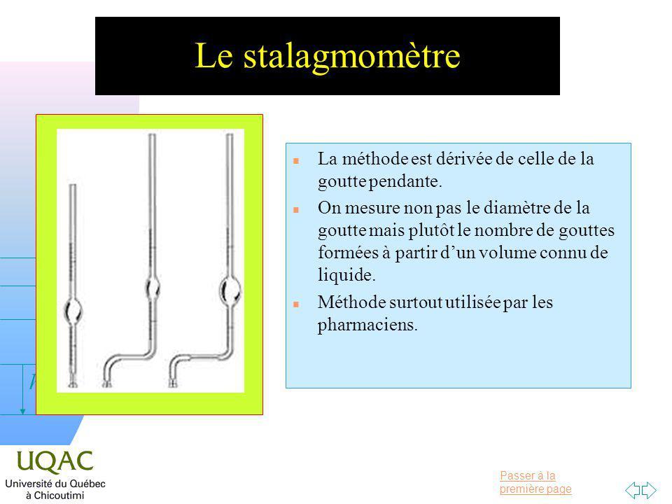 Passer à la première page v = 0 h Le stalagmomètre n La méthode est dérivée de celle de la goutte pendante.