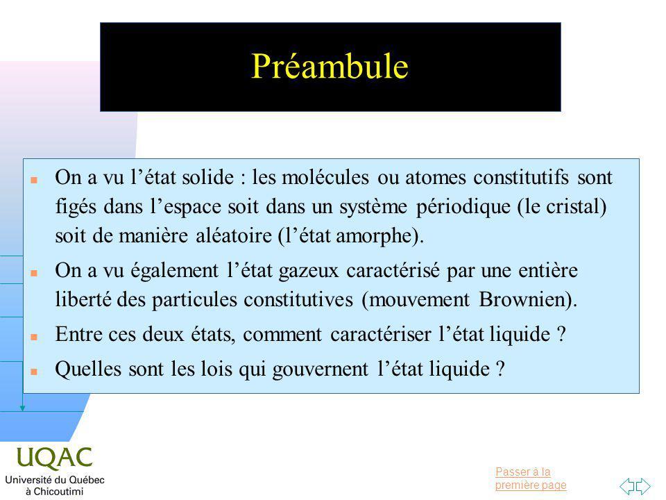 Passer à la première page v = 0 h Préambule n On a vu létat solide : les molécules ou atomes constitutifs sont figés dans lespace soit dans un système périodique (le cristal) soit de manière aléatoire (létat amorphe).