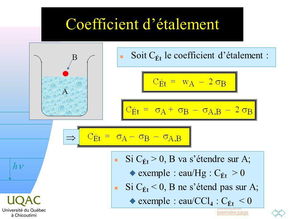Passer à la première page v = 0 h Coefficient détalement n Soit C Ét le coefficient détalement : A B n Si C Ét > 0, B va sétendre sur A; u exemple : eau/Hg : C Ét > 0 n Si C Ét < 0, B ne sétend pas sur A; u exemple : eau/CCl 4 : C Ét < 0