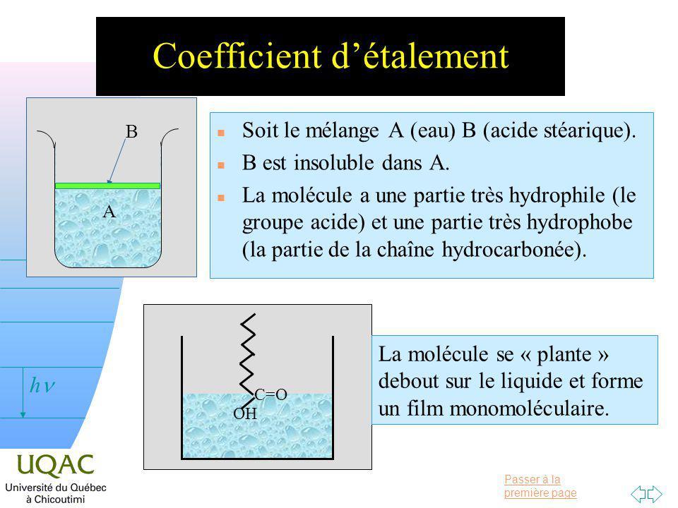 Passer à la première page v = 0 h Coefficient détalement n Soit le mélange A (eau) B (acide stéarique).