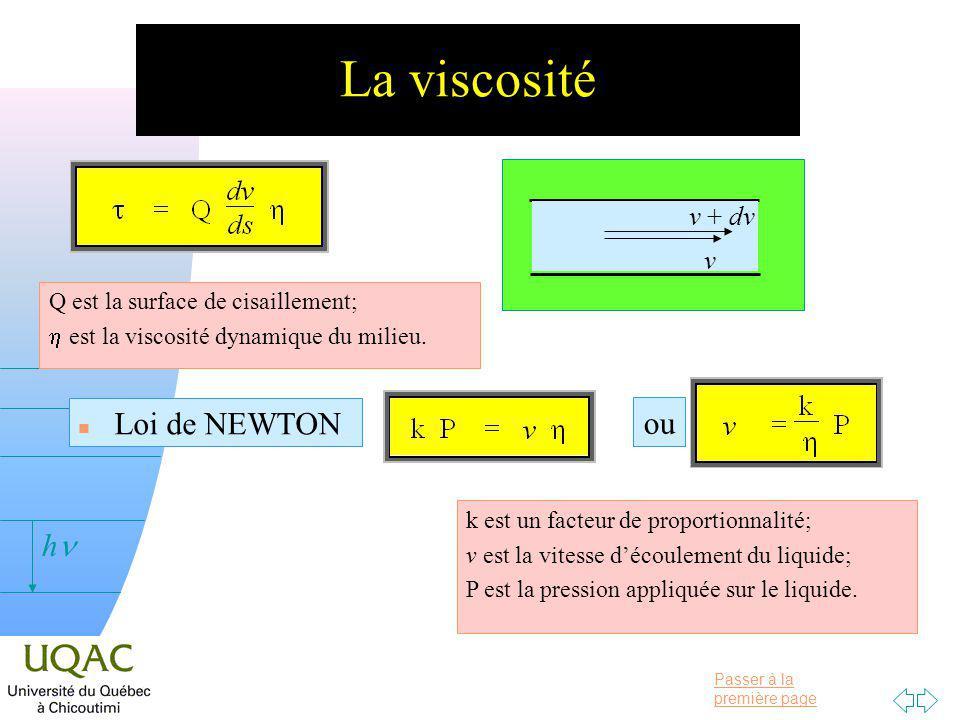 Passer à la première page v = 0 h La viscosité n Loi de NEWTON Q est la surface de cisaillement; est la viscosité dynamique du milieu.