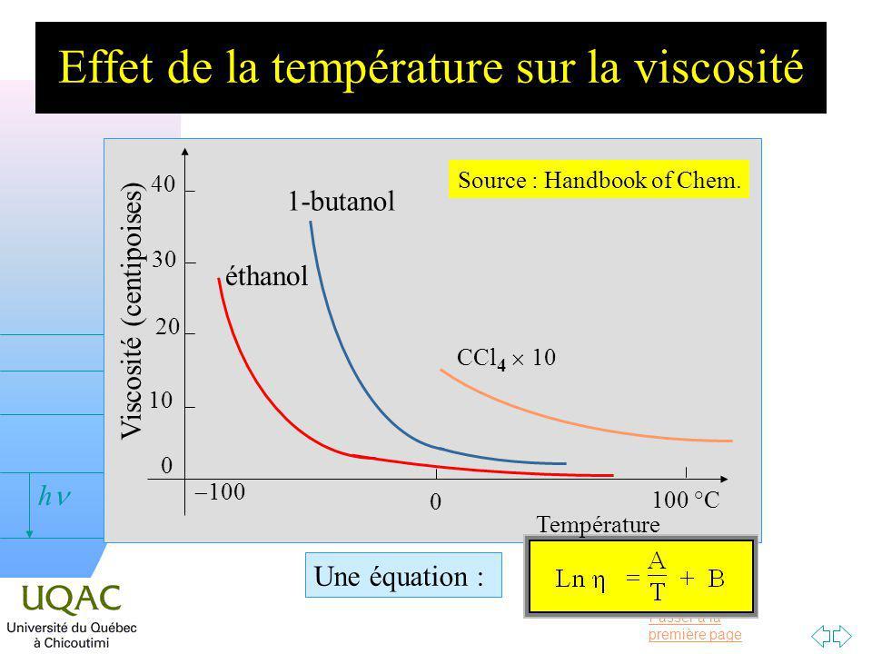 Passer à la première page v = 0 h Effet de la température sur la viscosité éthanol 1-butanol CCl 4 10 Source : Handbook of Chem.