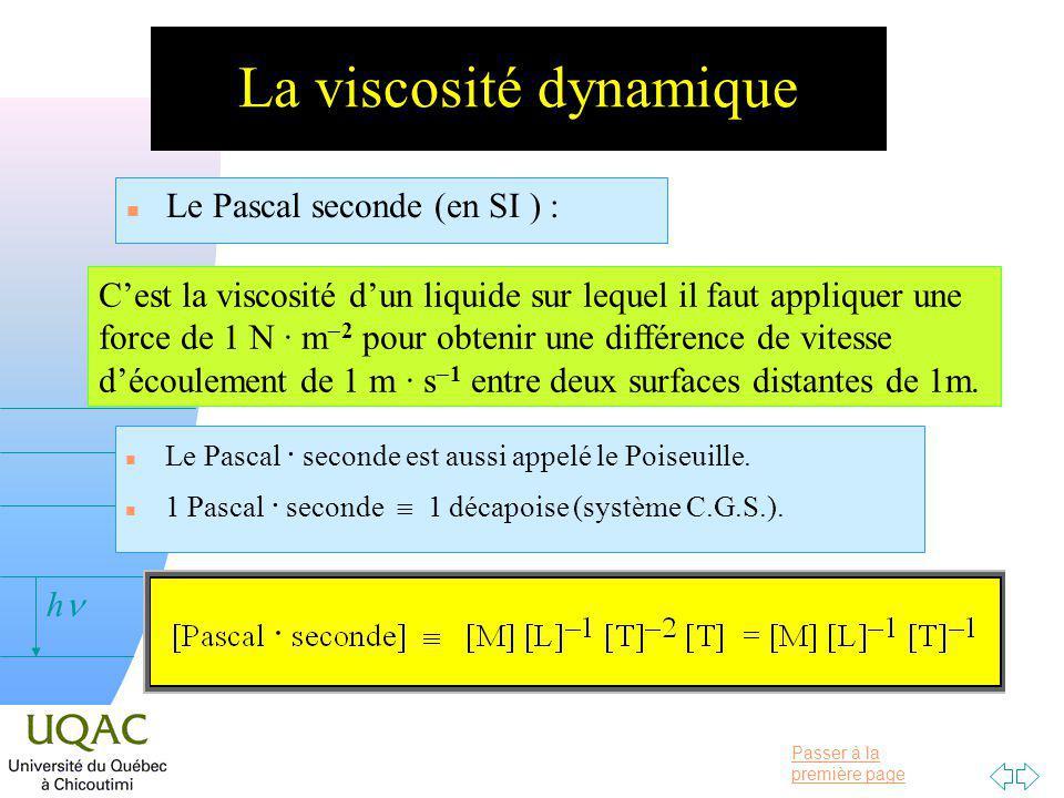 Passer à la première page v = 0 h La viscosité dynamique n Le Pascal seconde (en SI ) : Cest la viscosité dun liquide sur lequel il faut appliquer une force de 1 N · m 2 pour obtenir une différence de vitesse découlement de 1 m · s 1 entre deux surfaces distantes de 1m.