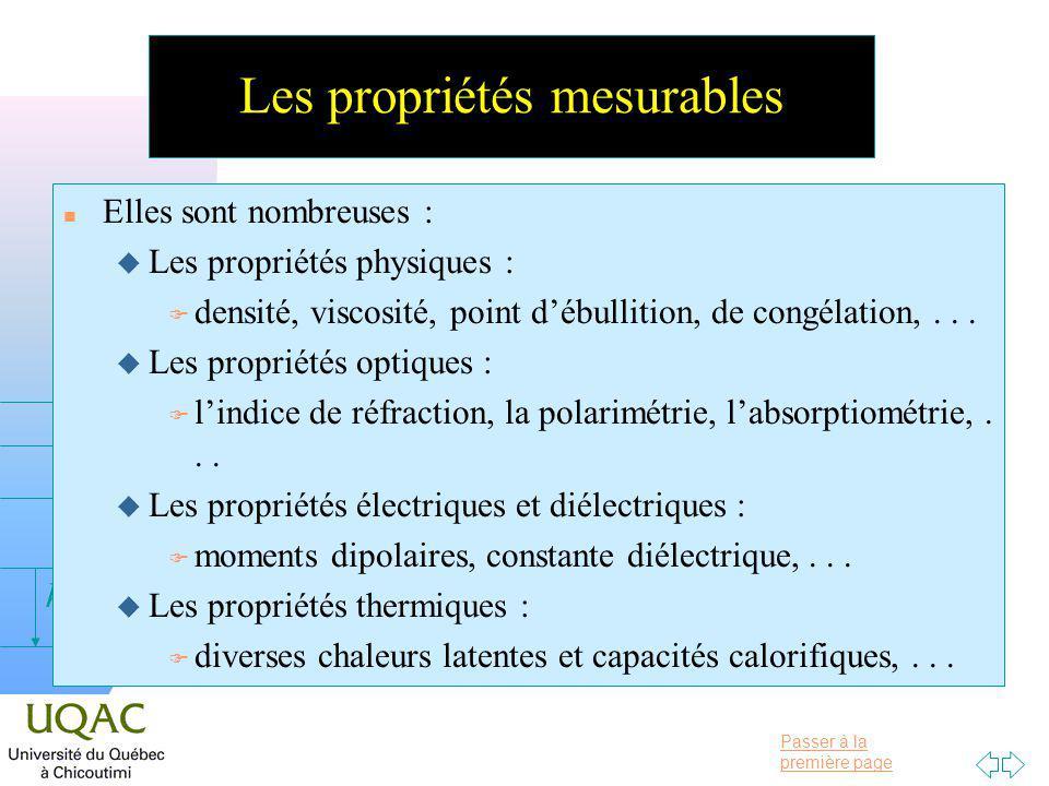 Passer à la première page v = 0 h Les propriétés mesurables n Elles sont nombreuses : u Les propriétés physiques : F densité, viscosité, point débullition, de congélation,...