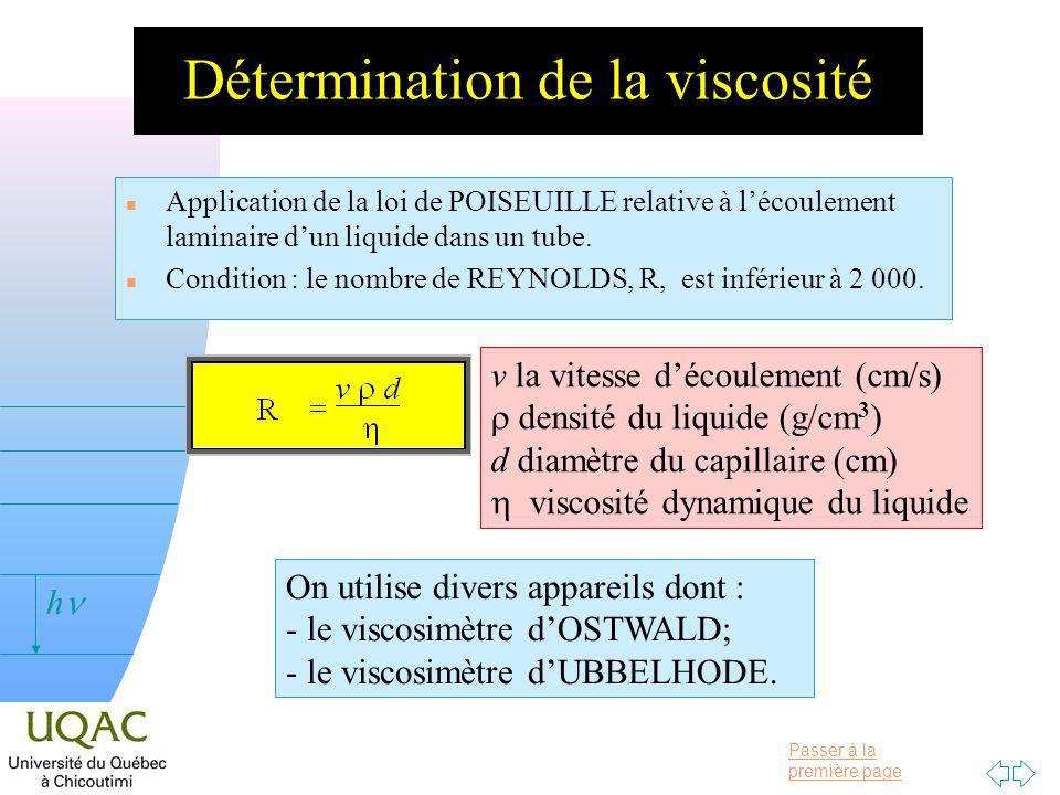 Passer à la première page v = 0 h Détermination de la viscosité n Application de la loi de POISEUILLE relative à lécoulement laminaire dun liquide dans un tube.