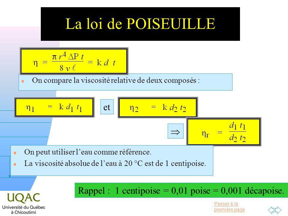 Passer à la première page v = 0 h La loi de POISEUILLE n On compare la viscosité relative de deux composés : et n On peut utiliser leau comme référence.