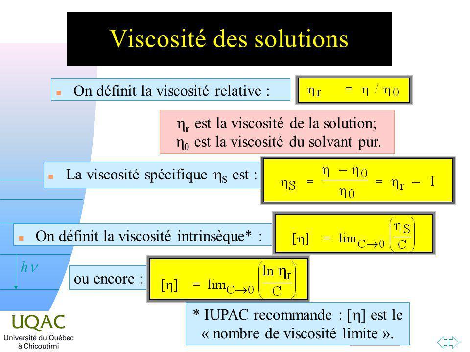 Passer à la première page v = 0 h Viscosité des solutions n On définit la viscosité relative : r est la viscosité de la solution; 0 est la viscosité du solvant pur.