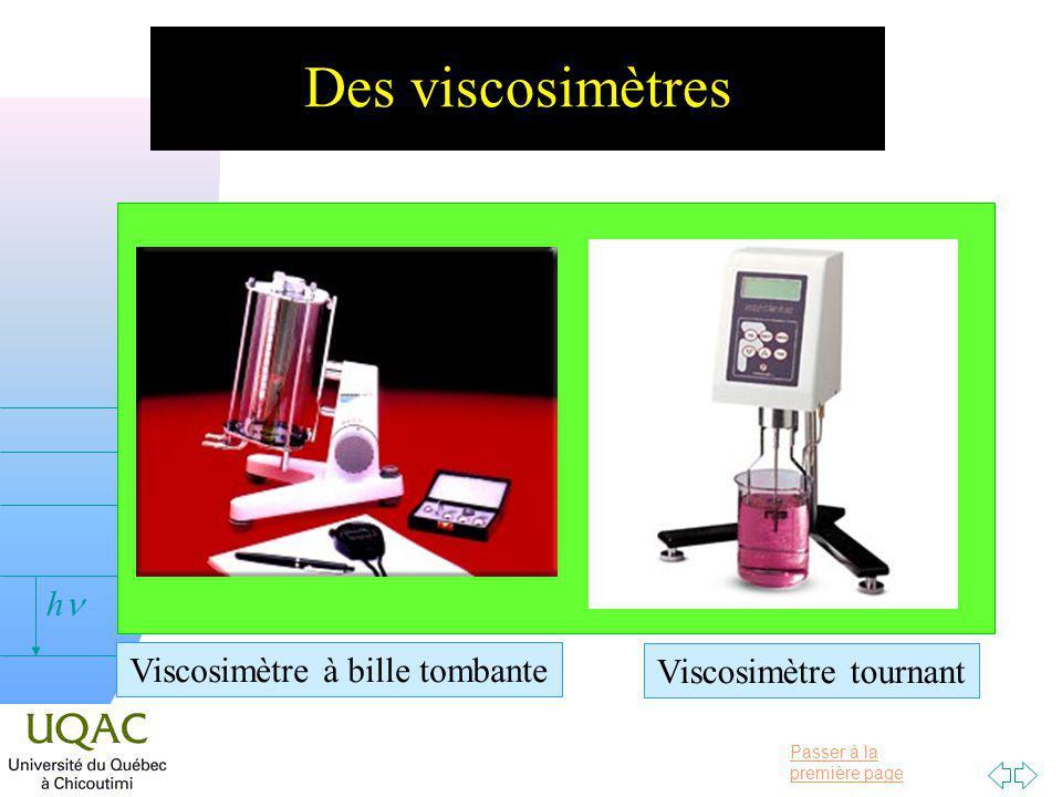Passer à la première page v = 0 h Des viscosimètres Viscosimètre à bille tombante Viscosimètre tournant