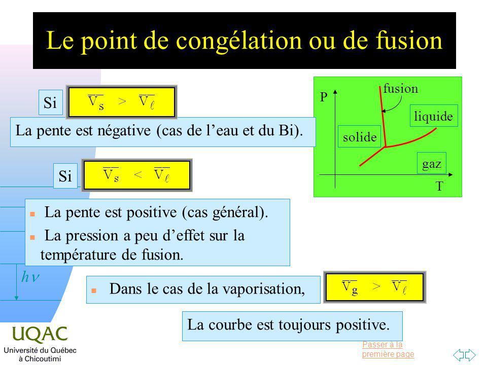 Passer à la première page v = 0 h Le point de congélation ou de fusion P T gaz liquide solide fusion La pente est négative (cas de leau et du Bi).