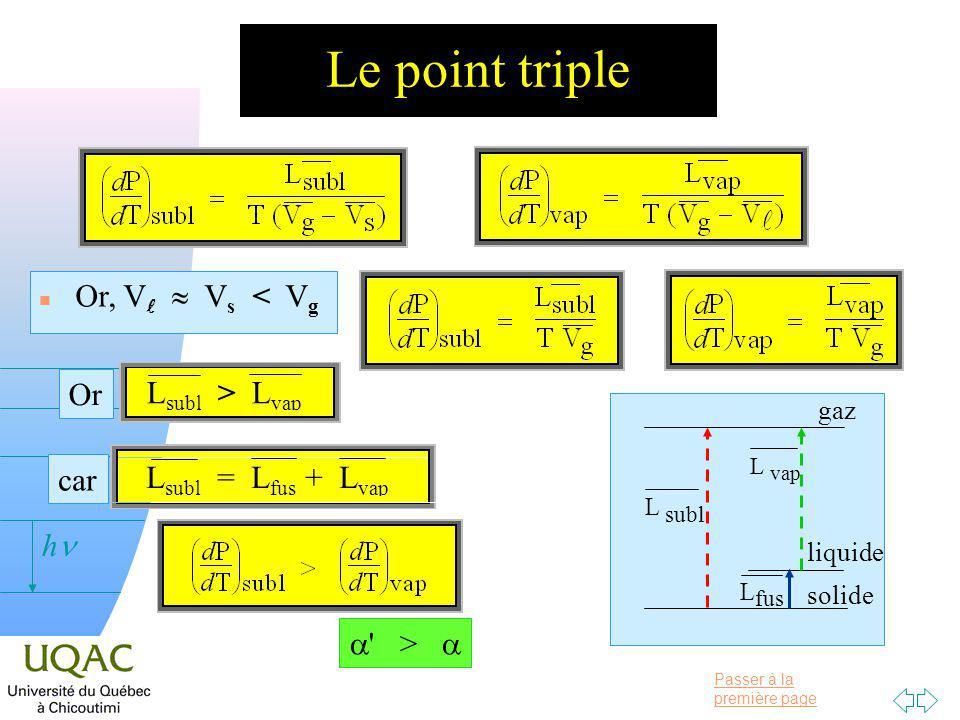 Passer à la première page v = 0 h Le point triple n Or, V V s < V g > liquide solide gaz car L subl = L fus + L vap Or L subl > L vap L subl L vap L fus
