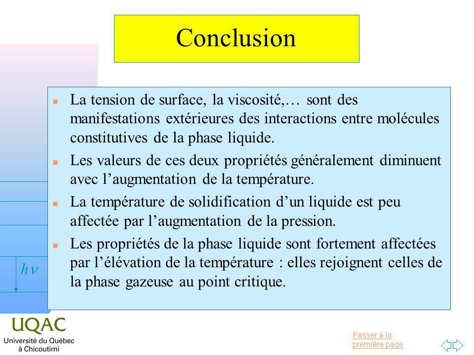 Passer à la première page v = 0 h Conclusion n La tension de surface, la viscosité,… sont des manifestations extérieures des interactions entre molécules constitutives de la phase liquide.