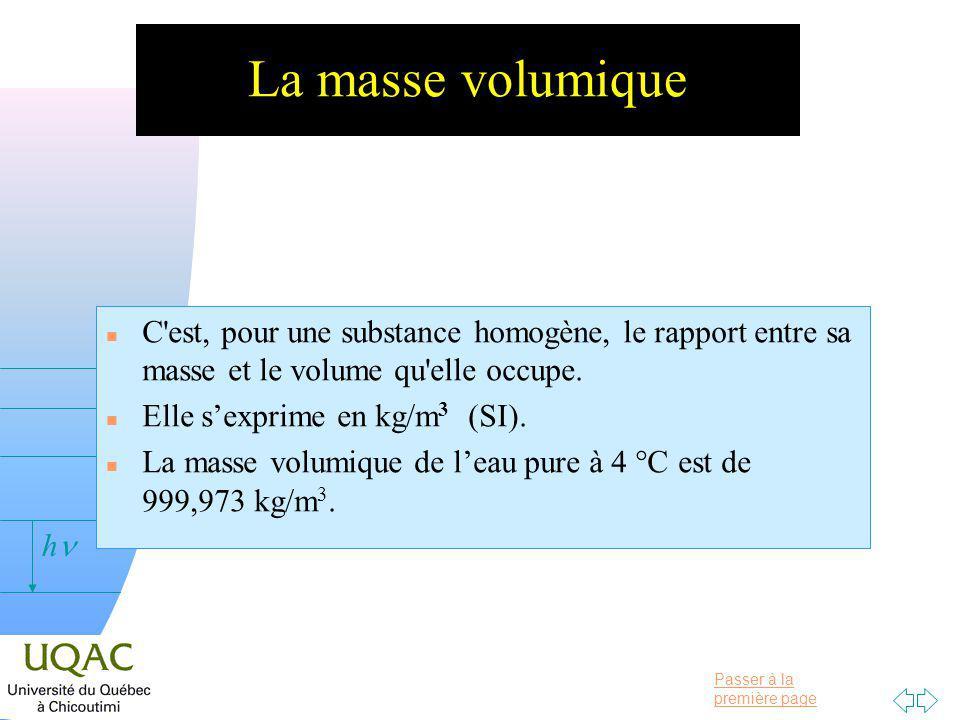 Passer à la première page v = 0 h La masse volumique n C est, pour une substance homogène, le rapport entre sa masse et le volume qu elle occupe.
