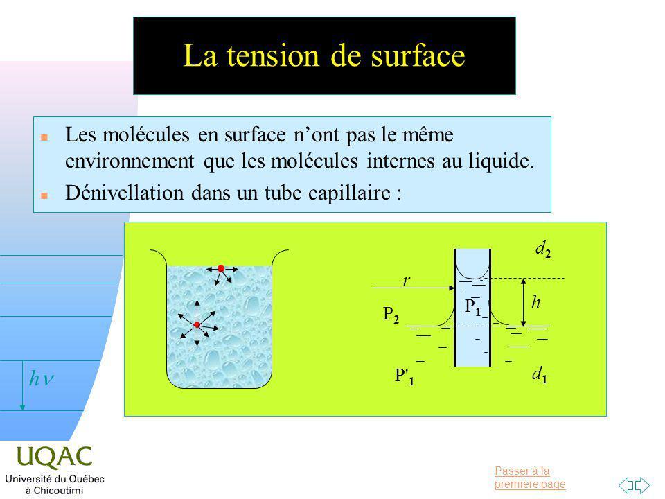 Passer à la première page v = 0 h La tension de surface n Les molécules en surface nont pas le même environnement que les molécules internes au liquide.