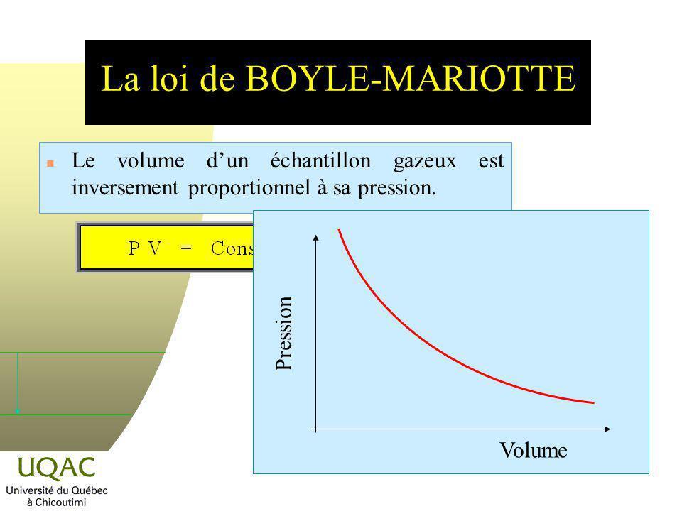 La distribution des vitesses de MAXWELL-BOLTZMANN n La formulation dépend de la relation de BOLTZMANN : P(E) = A e E/kT n la probabilité P de trouver une particule ayant la vitesse v z est : P(c z ) = A e (mc z 2 )/2kT n Le facteur pré exponentiel A peut être calculé et la solution complète conduit à : n En trois dimensions : Cest loi de distribution de vitesses de MAXWELL-BOLTZMANN.