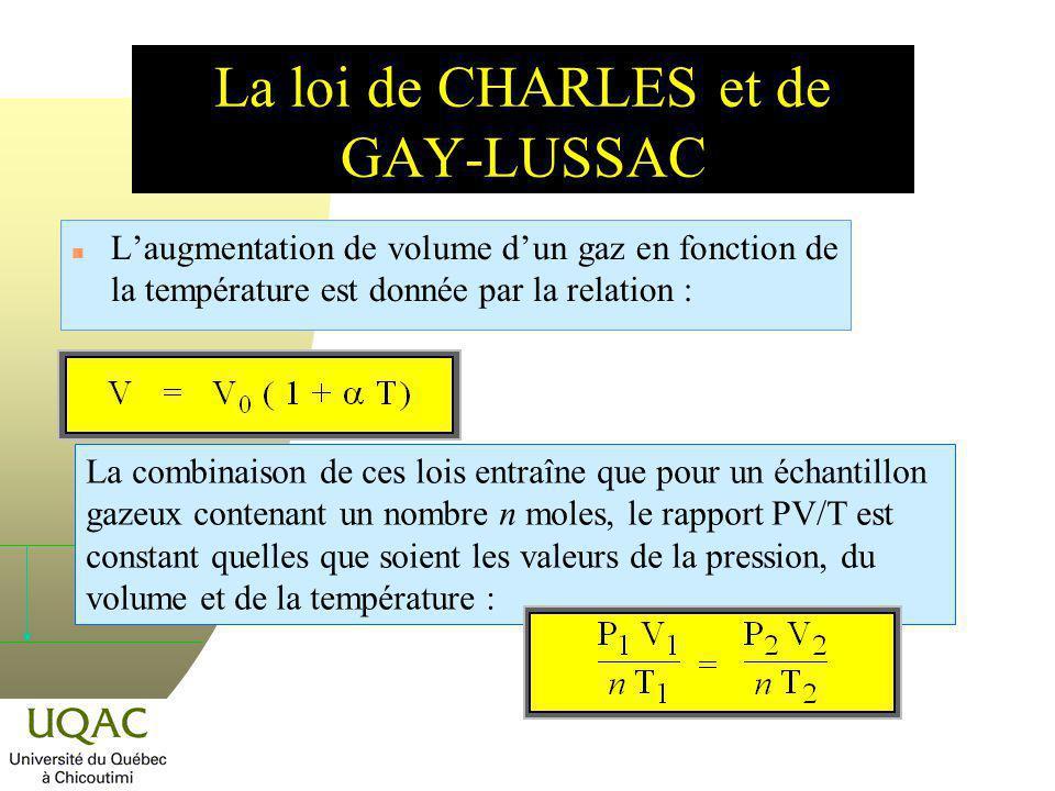 Coefficients de dilatation thermique n On a vu que le volume dun gaz dépend de sa température : n Le volume molaire est donc proportionnel à la température absolue de léchantillon.