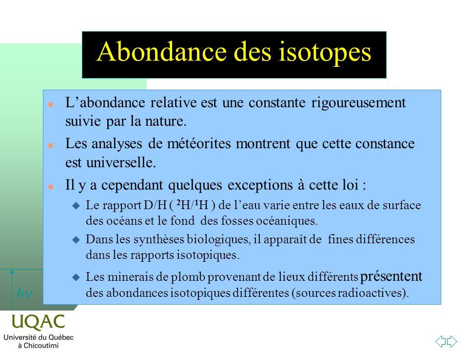 h Abondance des isotopes n Labondance relative est une constante rigoureusement suivie par la nature. n Les analyses de météorites montrent que cette