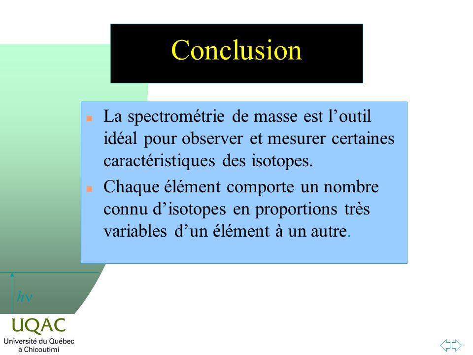 h Conclusion n La spectrométrie de masse est loutil idéal pour observer et mesurer certaines caractéristiques des isotopes. n Chaque élément comporte