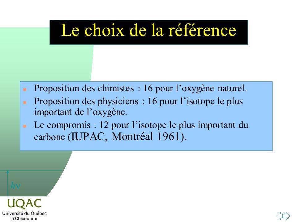 h Le choix de la référence n Proposition des chimistes : 16 pour loxygène naturel. n Proposition des physiciens : 16 pour lisotope le plus important d