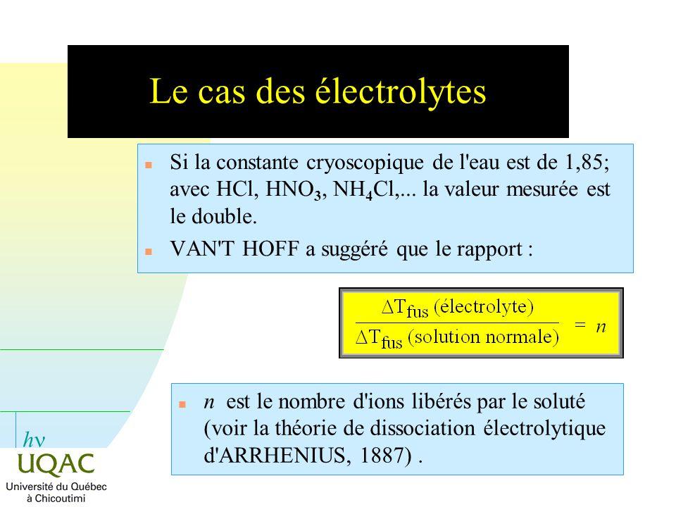 h Le cas des électrolytes n Si la constante cryoscopique de l'eau est de 1,85; avec HCl, HNO 3, NH 4 Cl,... la valeur mesurée est le double. n VAN'T H