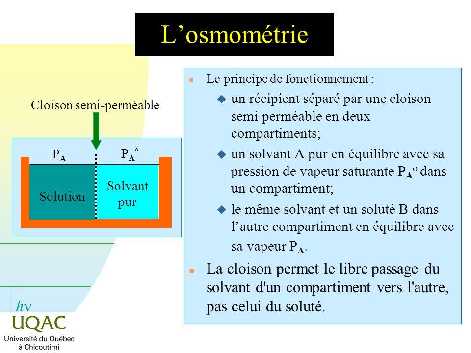 h Losmométrie n Le principe de fonctionnement : u un récipient séparé par une cloison semi perméable en deux compartiments; un solvant A pur en équili