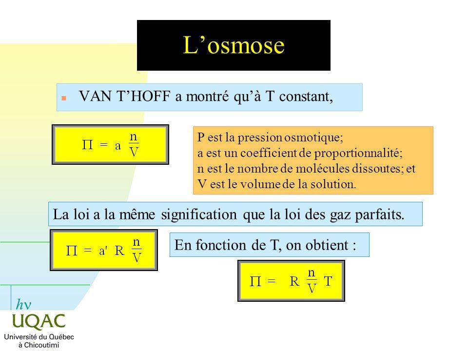 h Losmose n VAN THOFF a montré quà T constant, P est la pression osmotique; a est un coefficient de proportionnalité; n est le nombre de molécules dis