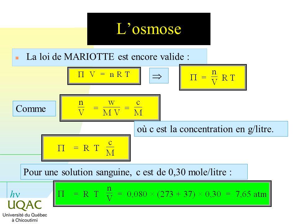 h Losmose n La loi de MARIOTTE est encore valide : Comme où c est la concentration en g/litre. Pour une solution sanguine, c est de 0,30 mole/litre :