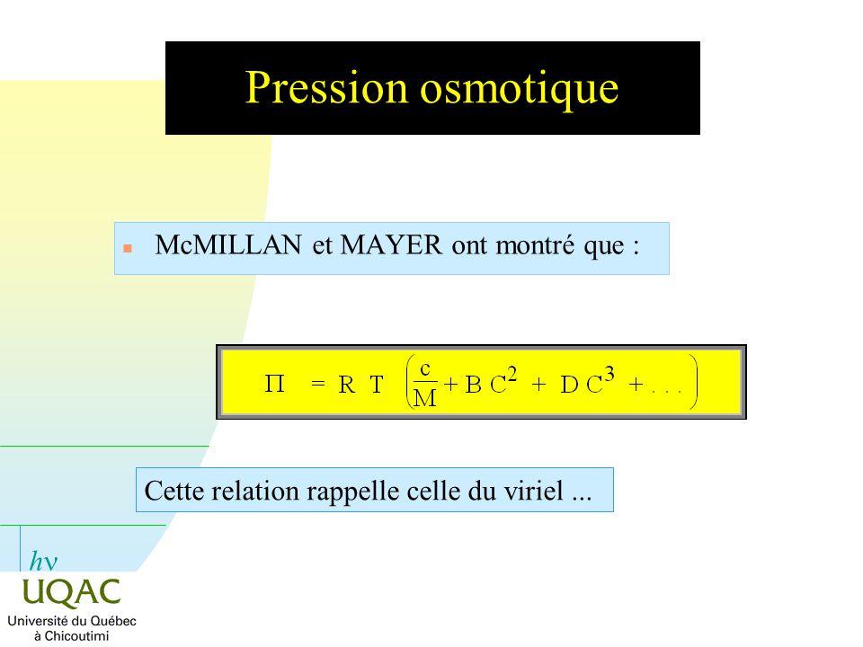 h Pression osmotique n McMILLAN et MAYER ont montré que : Cette relation rappelle celle du viriel...
