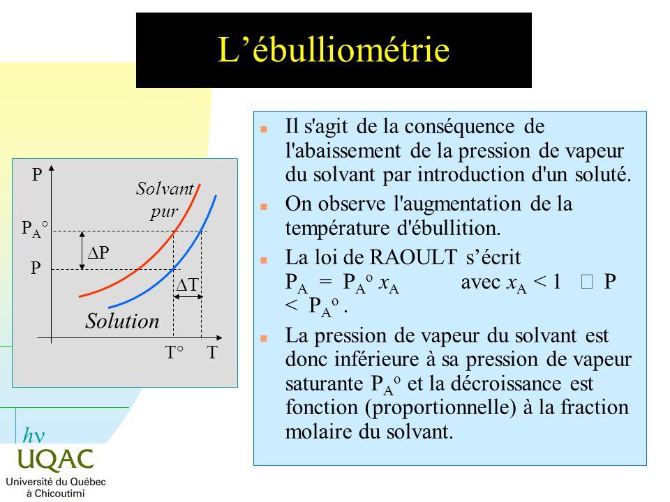 h Lébulliométrie n Il s'agit de la conséquence de l'abaissement de la pression de vapeur du solvant par introduction d'un soluté. n On observe l'augme