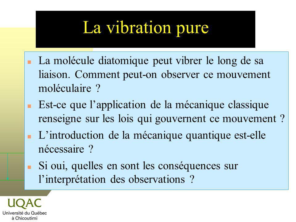 Fréquence de vibration et fréquence dabsorption La fréquence de la vibration de la liaison est donnée par la relation : Lénergie de la transition entre les niveaux = 0 et = 1 (en absorption) correspond à : La fréquence de la transition est donc égale à la moyenne entre les fréquences de vibration des deux niveaux impliqués.