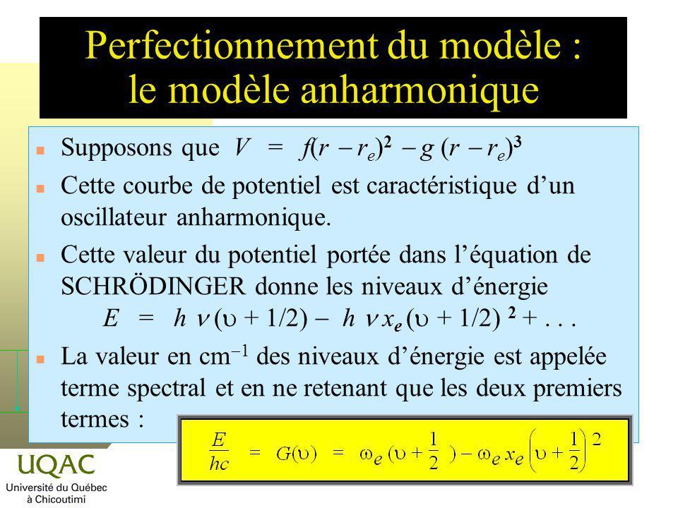 Supposons que V = f(r r e ) 2 g (r r e ) 3 n Cette courbe de potentiel est caractéristique dun oscillateur anharmonique. Cette valeur du potentiel por