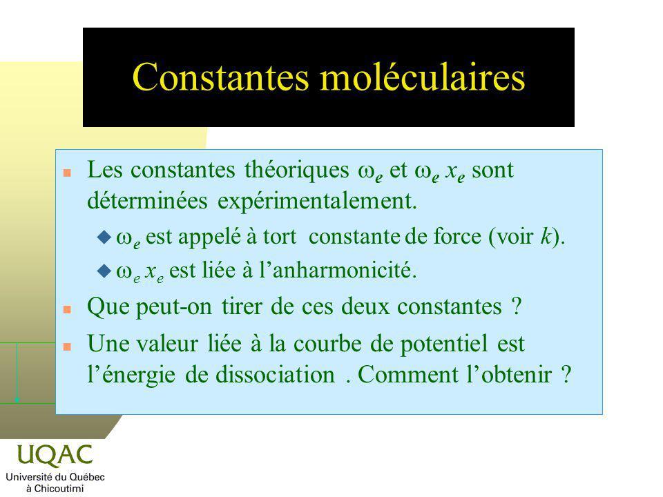 Constantes moléculaires Les constantes théoriques e et e x e sont déterminées expérimentalement. e est appelé à tort constante de force (voir k). e x