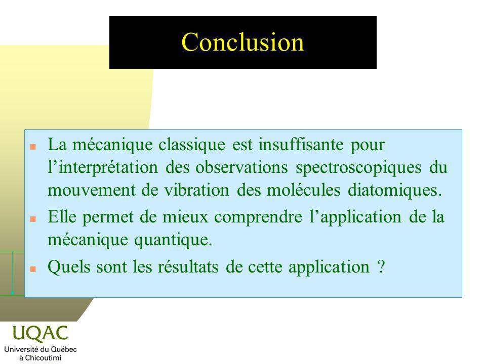 n La mécanique classique est insuffisante pour linterprétation des observations spectroscopiques du mouvement de vibration des molécules diatomiques.