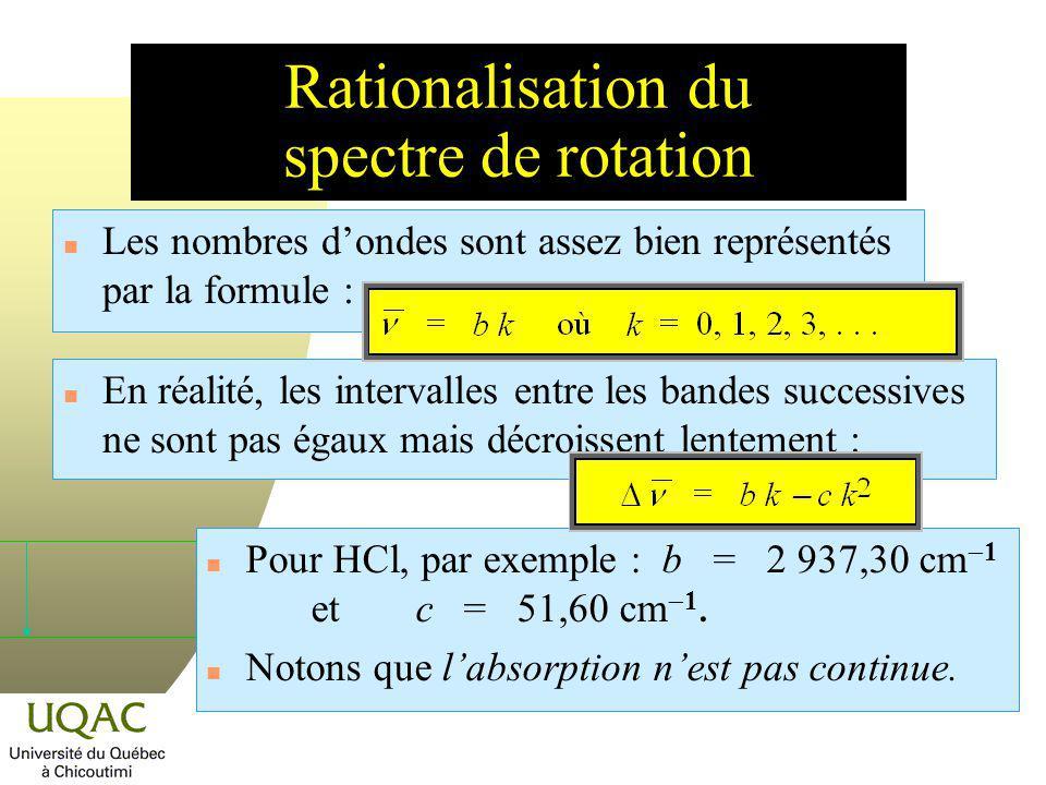 Rationalisation du spectre de rotation n Les nombres dondes sont assez bien représentés par la formule : Pour HCl, par exemple : b = 2 937,30 cm 1 etc