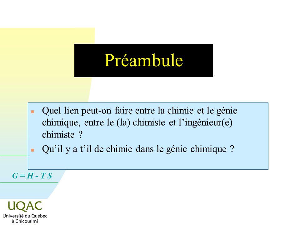 G = H - T S Préambule n Quel lien peut-on faire entre la chimie et le génie chimique, entre le (la) chimiste et lingénieur(e) chimiste .
