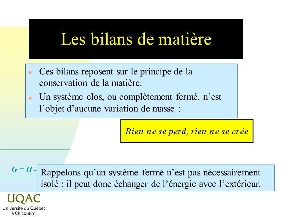 G = H - T S Les bilans de matière n Ces bilans reposent sur le principe de la conservation de la matière.