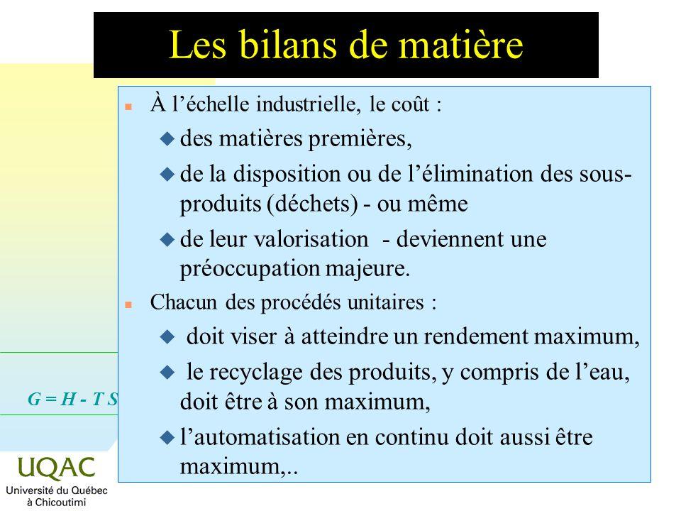 G = H - T S Les bilans de matière n À léchelle industrielle, le coût : u des matières premières, u de la disposition ou de lélimination des sous- produits (déchets) - ou même u de leur valorisation - deviennent une préoccupation majeure.