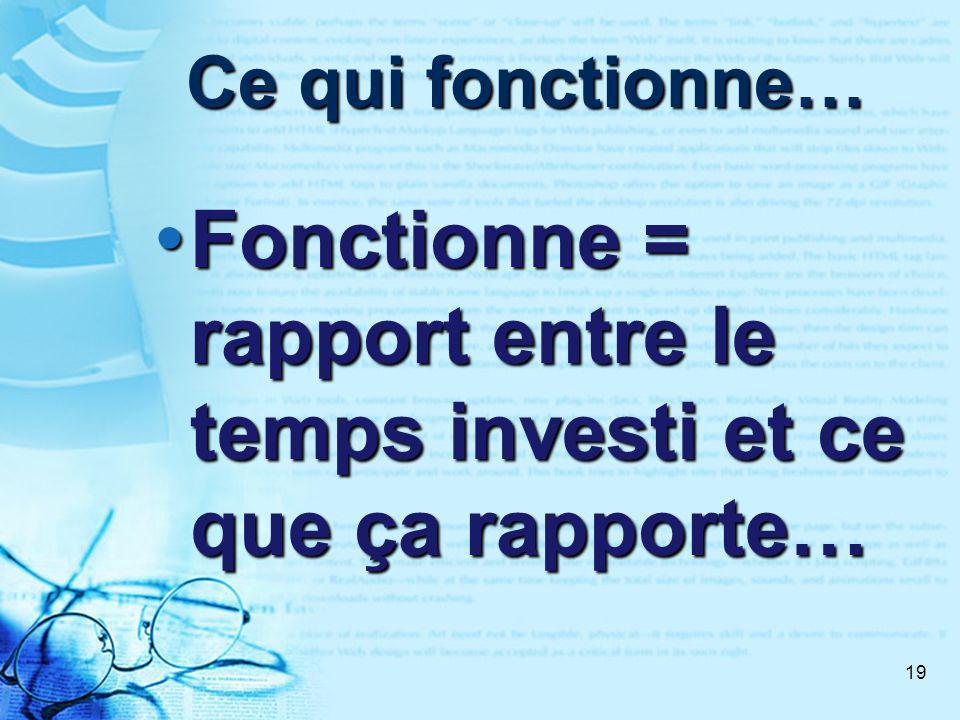 19 Ce qui fonctionne… Fonctionne = rapport entre le temps investi et ce que ça rapporte… Fonctionne = rapport entre le temps investi et ce que ça rapporte…