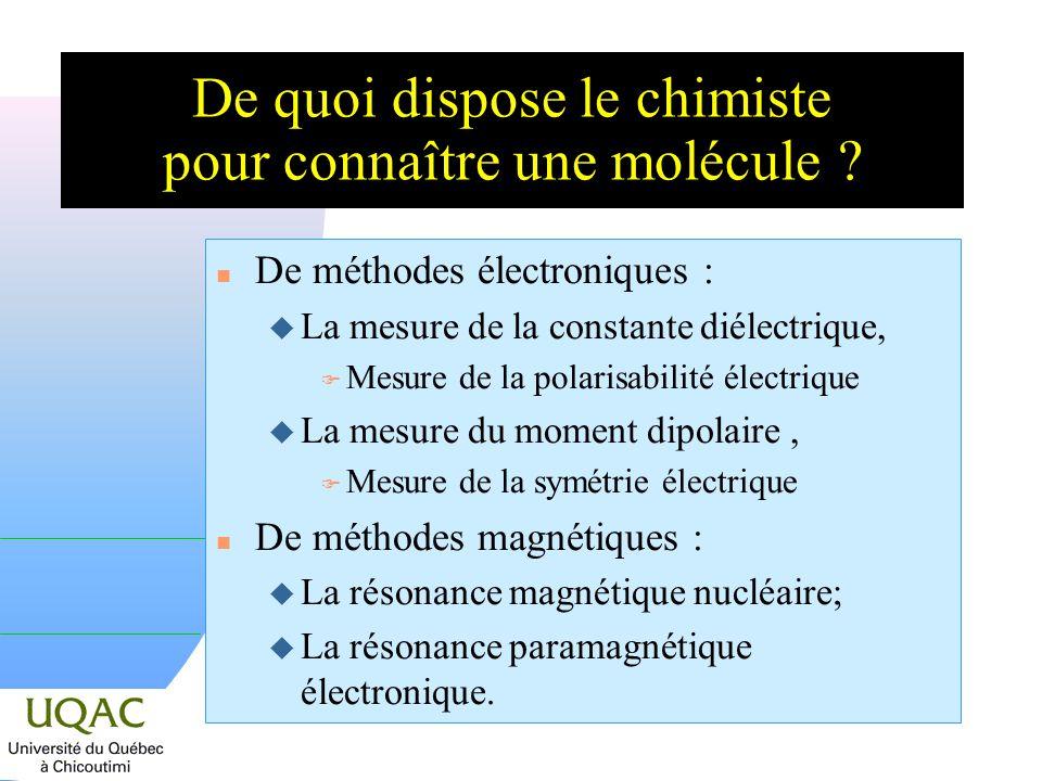 n De méthodes électroniques : u La mesure de la constante diélectrique, F Mesure de la polarisabilité électrique u La mesure du moment dipolaire, F Mesure de la symétrie électrique n De méthodes magnétiques : u La résonance magnétique nucléaire; u La résonance paramagnétique électronique.