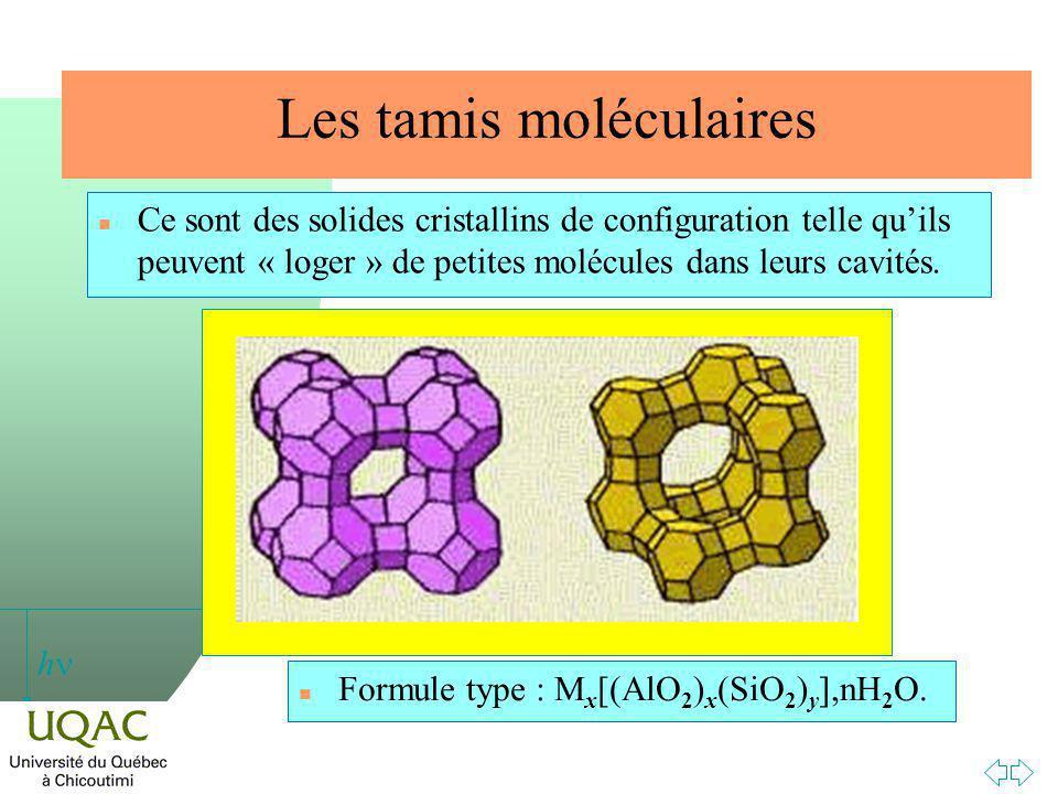 h Les tamis moléculaires n Ce sont des solides cristallins de configuration telle quils peuvent « loger » de petites molécules dans leurs cavités.