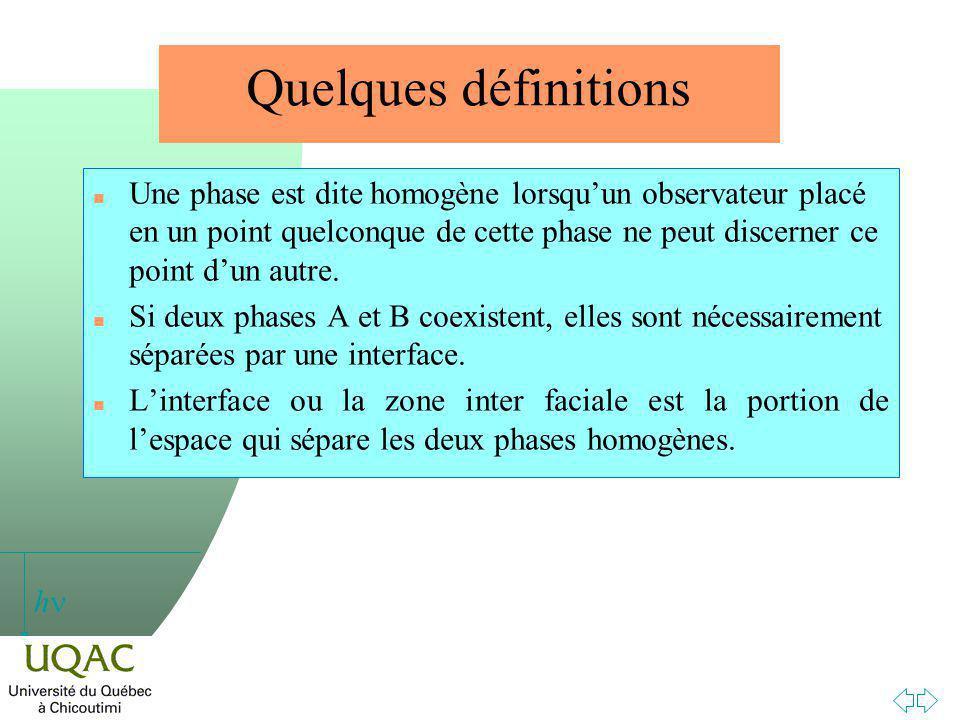 h Quelques définitions n Une phase est dite homogène lorsquun observateur placé en un point quelconque de cette phase ne peut discerner ce point dun autre.
